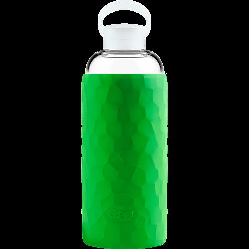 Скляна спортивна пляшка з чохлом, 1 л, Зелена