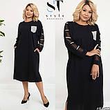 Элегантное стильное платье прямого силуэта большого размера :  52-54, 56-58, 60-62, 64-66, фото 6