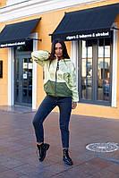 """Двусторонняя женская куртка-ветровка """"DOUBLE"""" с капюшоном (большие размеры)"""