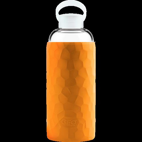 Скляна спортивна пляшка з чохлом, 1 л, Помаранчева