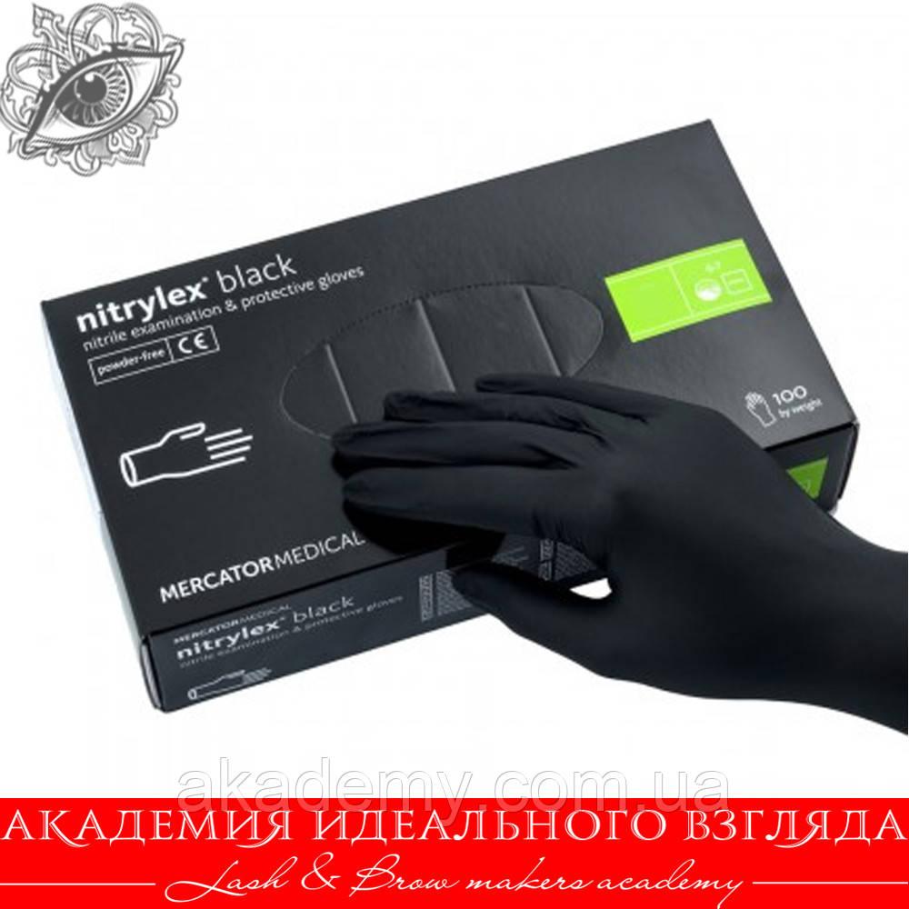 Перчатки нитриловые черные (без пудры) 100 шт L