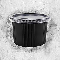 Одноразовая герметичная упаковка для первых блюд ПС-115 500 мл черная 500 шт/уп