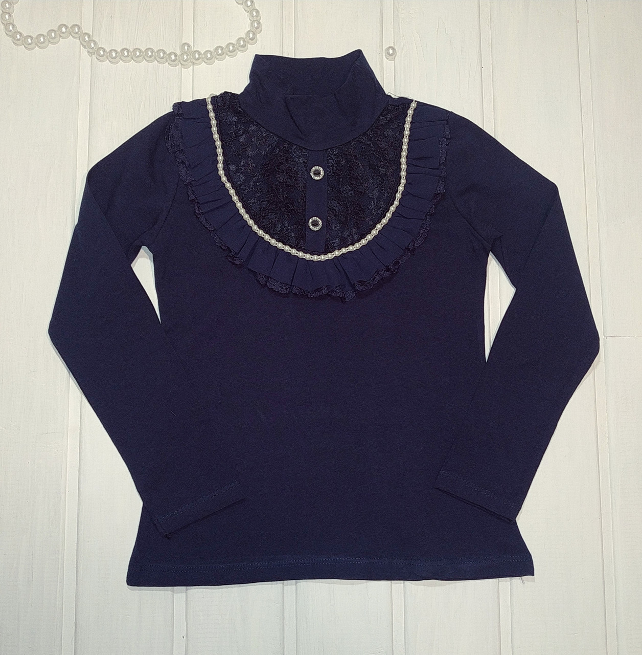 ✅Школьная блузка для девочки Блузка нарядная синяя  Размеры  116 128 140 152