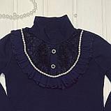 ✅Школьная блузка для девочки Блузка нарядная синяя  Размеры  116 128 140 152, фото 2