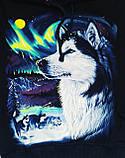 ✅Кофта с капюшоном для мальчика с принтом волка Светится в темноте 128 134 140 146 152, фото 2