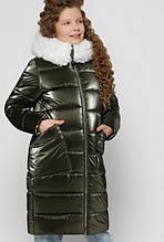 Стильне зимове пальто на дівчинку DT-8305, р-ри 28,30,32