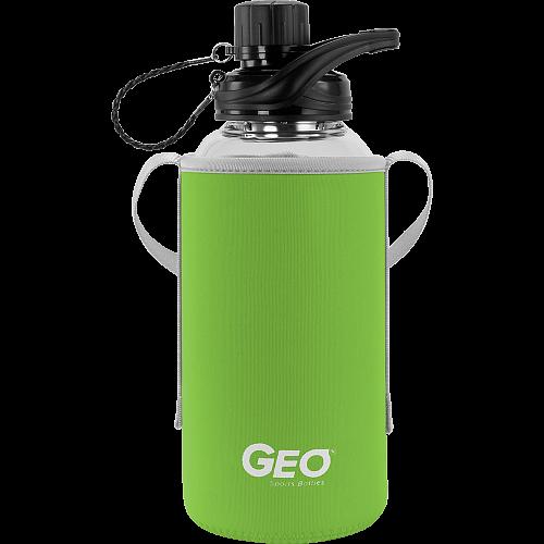 Скляна пляшка з чохлом та втулкою, 1 л, Зелена