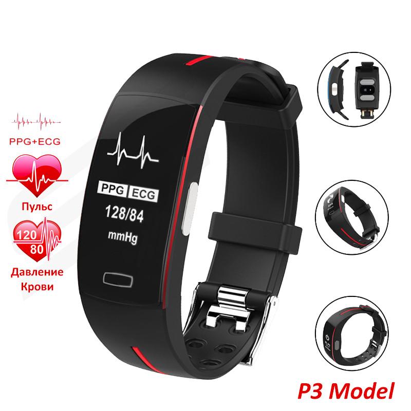 P3 Фитнес браслет тонометр давление крови ЭКГ кардио пульсометр для iPhone Android с HD дисплеем черно красный