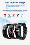 P3 Фитнес браслет тонометр давление крови ЭКГ кардио пульсометр для iPhone Android с HD дисплеем черно красный, фото 2