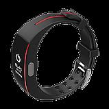 P3 Фитнес браслет тонометр давление крови ЭКГ кардио пульсометр для iPhone Android с HD дисплеем черно красный, фото 3