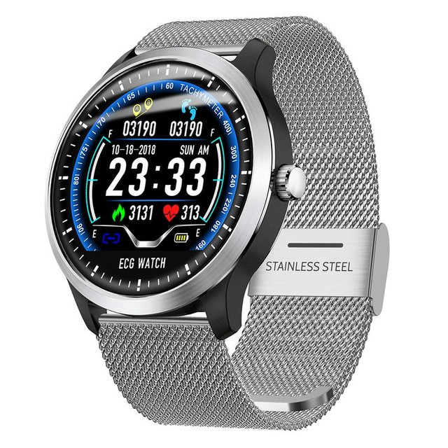 N58 смарт часы тонометр давление крови ЭКГ кардио пульсомер трекер для Android iPhone фитнес браслет серебро