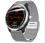 N58 смарт часы тонометр давление крови ЭКГ кардио пульсомер трекер для Android iPhone фитнес браслет серебро, фото 3
