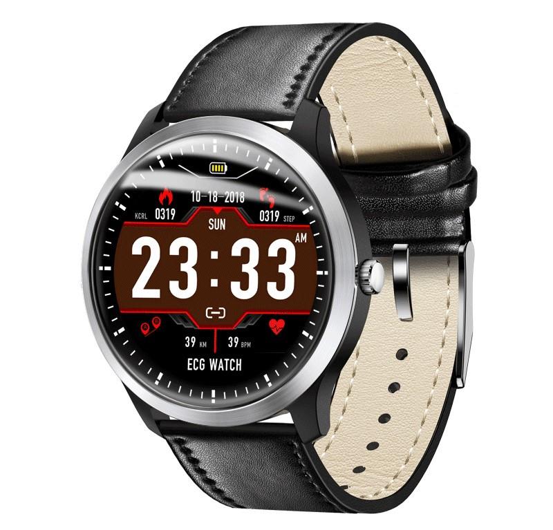 N58 смарт часы тонометр давление крови ЭКГ кардио пульсомер фитнес трекер iPhone и Android кожаный браслет