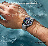 N58 смарт часы тонометр давление крови ЭКГ кардио пульсомер фитнес трекер iPhone и Android кожаный браслет, фото 2