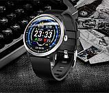 N58 смарт часы тонометр давление крови ЭКГ кардио пульсомер фитнес трекер iPhone и Android кожаный браслет, фото 5