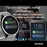 N58 смарт часы тонометр давление крови ЭКГ кардио пульсомер фитнес трекер iPhone и Android кожаный браслет, фото 6