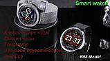 N58 смарт часы тонометр давление крови ЭКГ кардио пульсомер фитнес трекер iPhone и Android кожаный браслет, фото 7