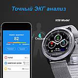 N58 смарт часы тонометр давление крови ЭКГ кардио пульсомер фитнес трекер iPhone и Android кожаный браслет, фото 9