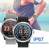 N58 смарт часы тонометр давление крови ЭКГ кардио пульсомер фитнес трекер iPhone и Android кожаный браслет, фото 10