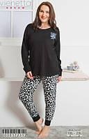 Комплект демисезонный женской домашней одежды (футболка длинный рукав.+ штаны) х/б VS (размер XL)