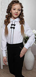 Блузка школьная с длинным рукавом для девочки, с отделкой .х/б DaNa-Kids (размер 122)