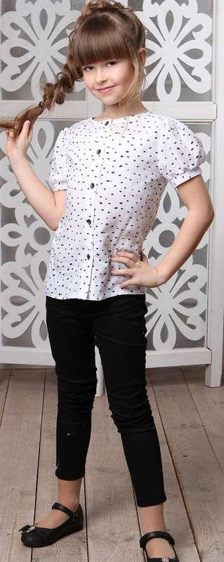 Блузка школьная с коротким рукавом для девочки, без воротника, рукав - фонарики, DaNa-Kids (размер 128)