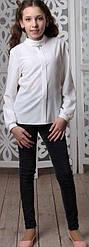 Блузка школьная с длинный рукавом для девочки, планка, отложной воротник  DaNa-Kids (размер 152)