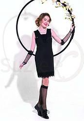 Сарафан школьный для девочки, модель Фернанда,  юбка  с кружевом черный, SUZIE (размер 146)
