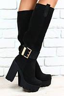 Купить Сапоги на каблуке черные замшевые с крупной пряжкой евро зима онлайн р.40
