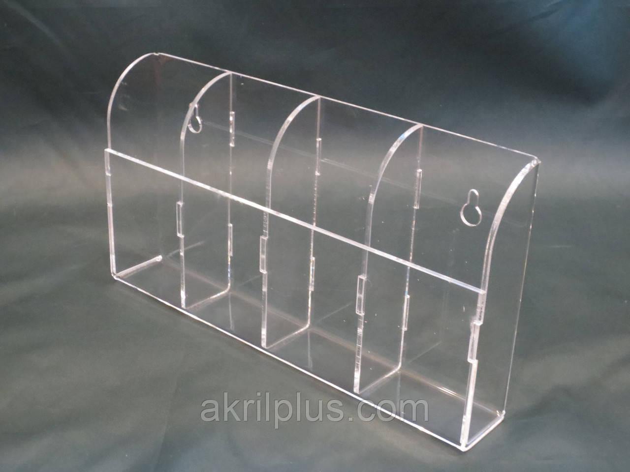 Прозорий акриловий тримач для будинку на 4 відділу настінний