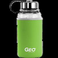 Скляна пляшка з чохлом та ручкою, 1л, Зелена