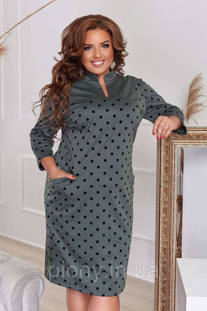 Женское Стильное Платье горох Батал