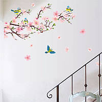 "Виниловые наклейки на стену, шкаф ""декоративное цветущее дерево сакура и синички"" 140см*77см (лист60*90см)"