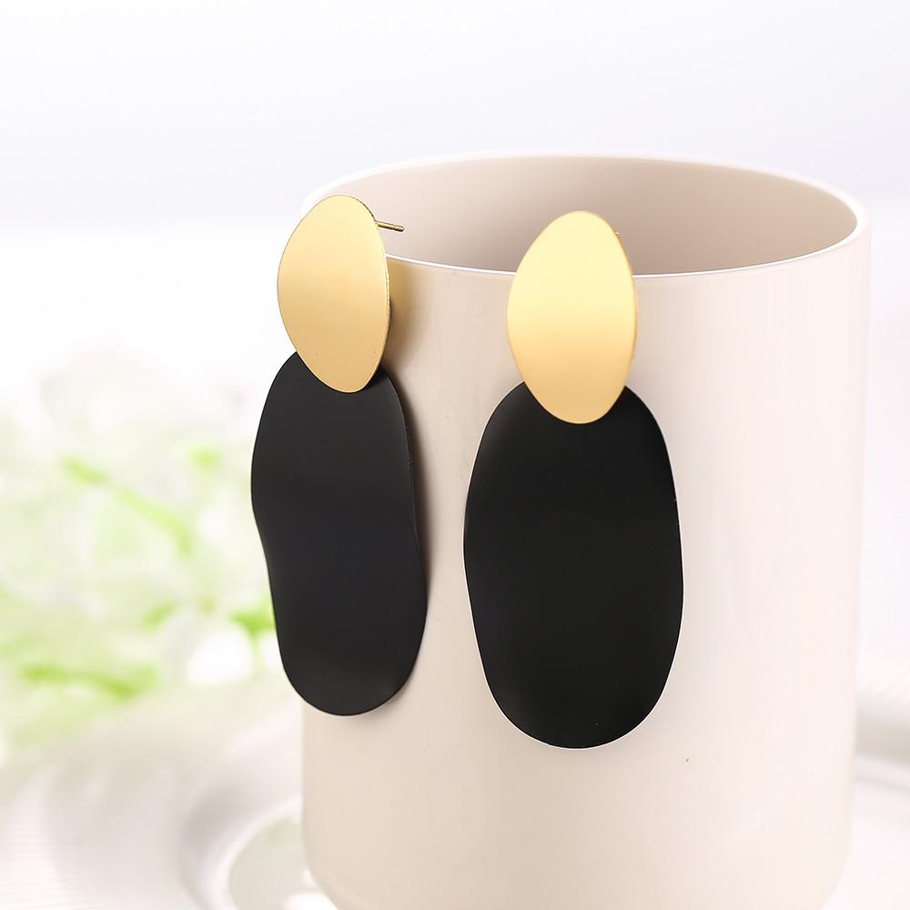 Чорно-золоті висячі сережки