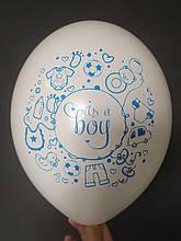 """Латексна кулька з малюнком it's a boy принт синій Belbal білий 12"""" 30см 002 ТМ """"Star"""""""