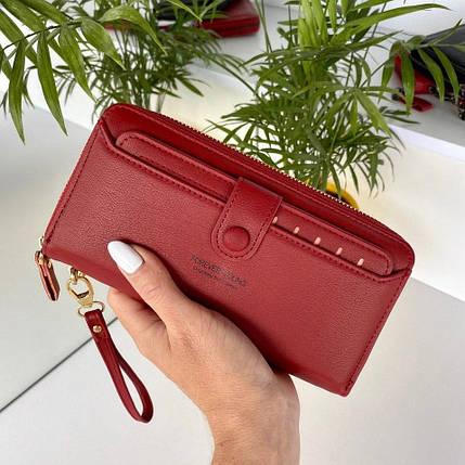 Женский кошелек на молнии Forever Young с визитницей темно-красный КФВ29, фото 2