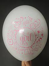 """Латексна кулька з малюнком it's a girl принт рожевий Belbal білий 12"""" 30см 002 ТМ """"Star"""""""