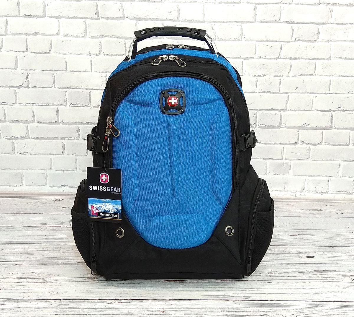 Місткий рюкзак. Чорний з синім. 35L / s6611 blue