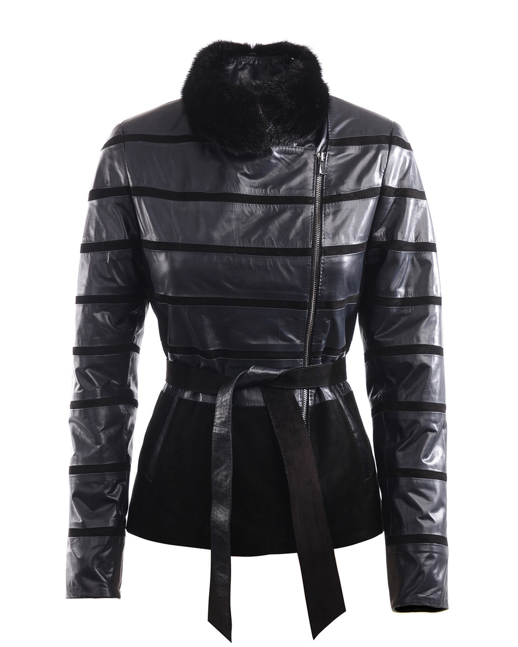 Комбинированная кожаная куртка черная женская (Арт. LAN202)