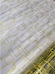 Мягкое стекло Силиконовая скатерть на стол Soft Glass 2.8х0.8м (Толщина 1.5мм) Золотистые прямоугольники