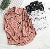 Трендовая белая классическая рубашка с принтом лица оверсайз свободная, фото 7