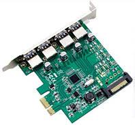 Контроллер PCI-E  to USB 3.0 4 port   с дополнительным питанием sata USB 3.0  NEC Chip PCI-Express