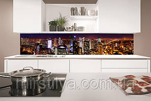 Стеклянный фартук для кухни - скинали ночной город, панорама