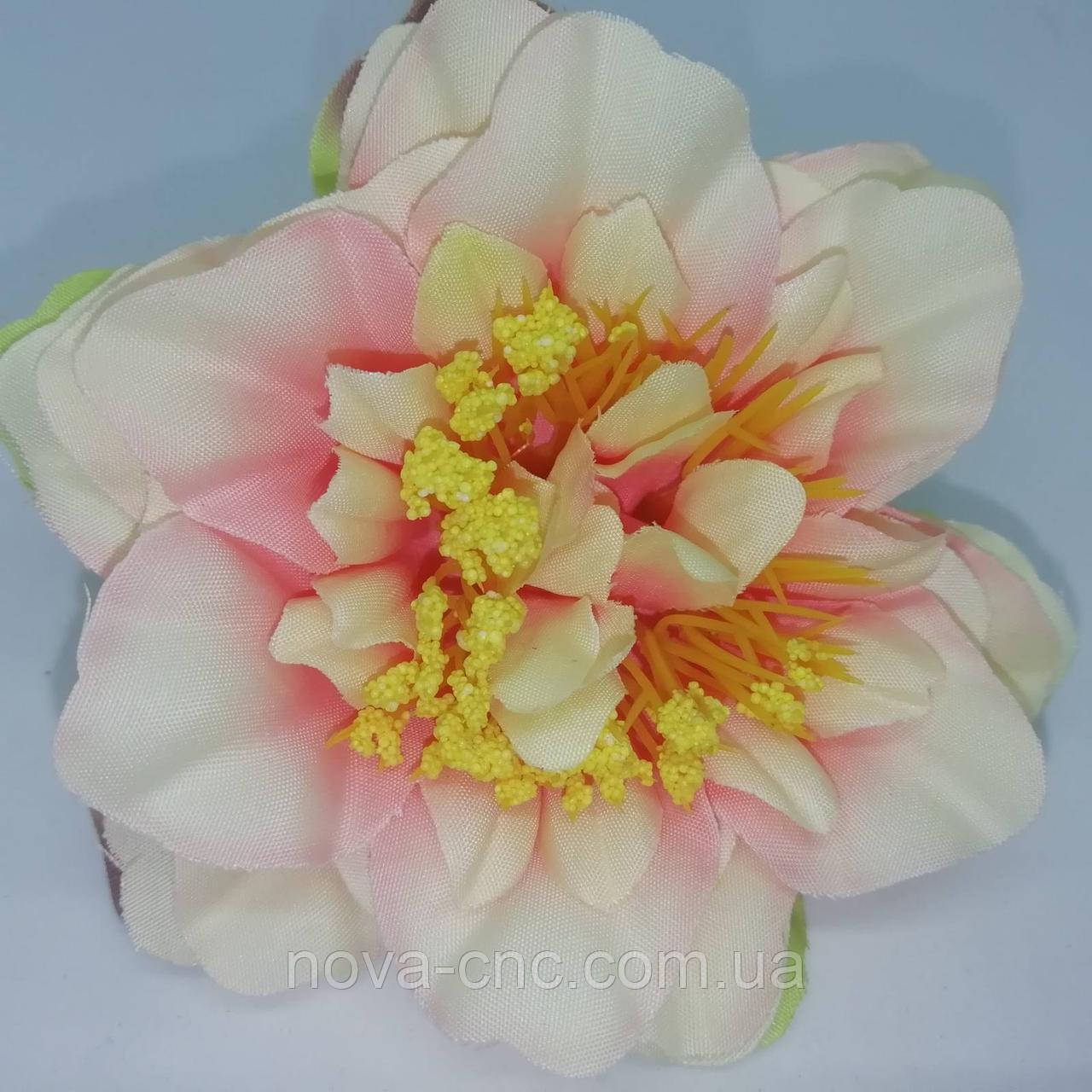 Квітка, тканинний кремово-рожевий 9 см 15 шт в упаковці