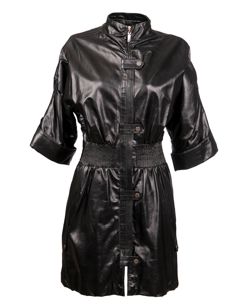 Кожаный тренч женский VK с коротким рукавом (Арт. PR501)
