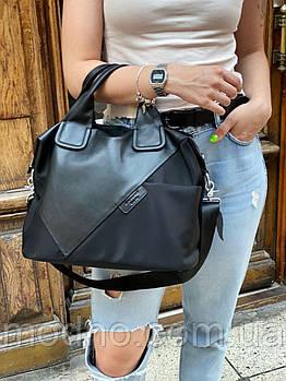 Жіноча текстильна шкіряна сумка на плече
