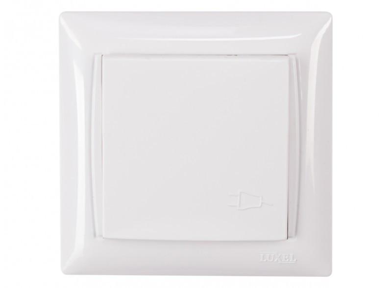 Розетка с заземлением и крышкой Luxel PRIMERA (3011) белая