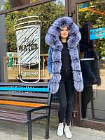 Зимняя куртка женская джинс с натуральным мехом