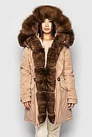 Зимняя женская парка куртка бежевая с мехом песец от бренда SIFURS размер S,M,L,XL