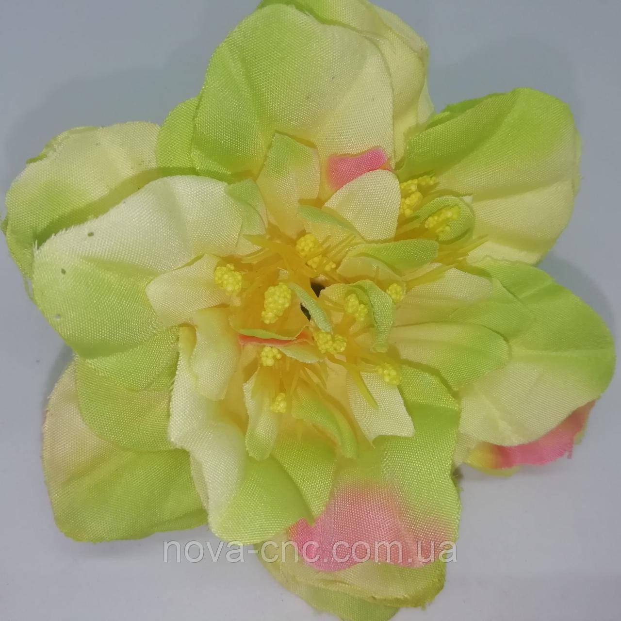 Цветок, тканевый желто-зеленый 9 см 15 шт в упаковке